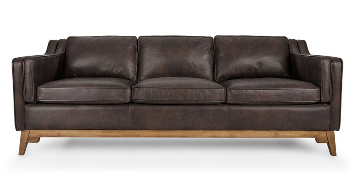 Vintage Brown Leather Mid Century Modern Sofa