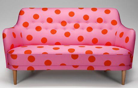 """Samsas"", Carl Malmsten for O H Sjögren Tranås 1960, Fabric: Ciao 2 of 10-gruppen. gah! ...vintage pink dotted settee / sofa ♥"