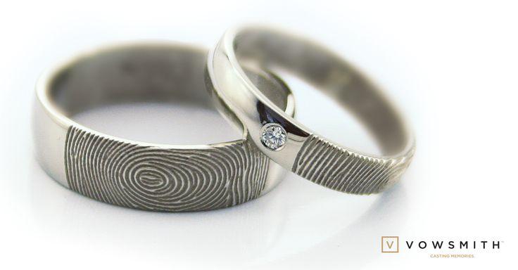 This is our Classic fingerprint wedding set: 18k white gold, a touch of sparkle, simply unique! www.vowsmith.com