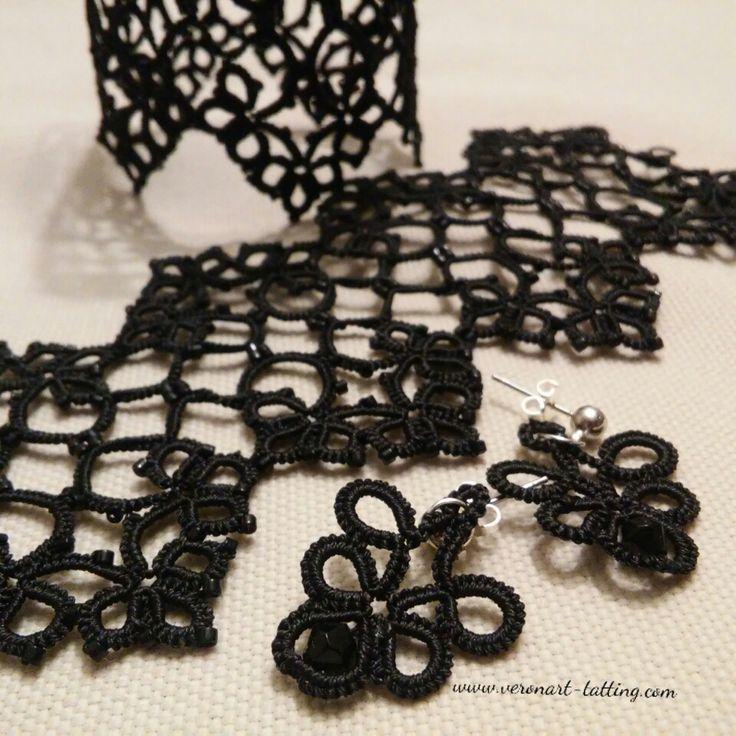 OLIVIA nagy nyakék apró gyöngyökkel / tatted beaded collar, necklace :: VERONART tatting - hajócsipke - frivolitás
