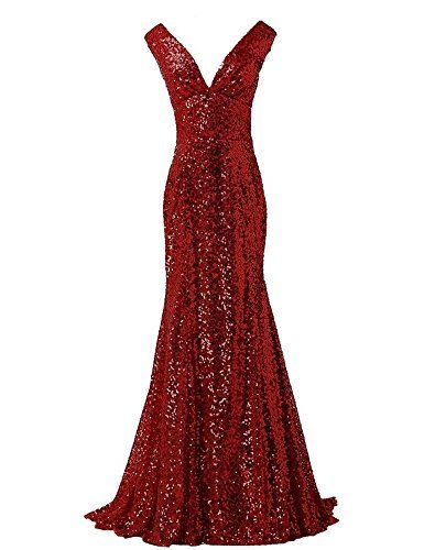 """LanierWedding Gold Sequins Mermaid V neck Bridesmaid Dresses Plus Size Prom Dresses Burgundy Size 16. Hot Sale, Fashion design, perfect for bridesmaid, prom, wedding party, evening party and other special occasions. Mermaid princess style, V neck, Lace up, Romantic Gold Sequins, Built in bra. PC has chromatic aberration, especially between CRT screen and LCD screen,so there may has a little colour shading. Please refer to the Size Chart Image on the left. Do not use Amazon's """"Size Chart""""…"""