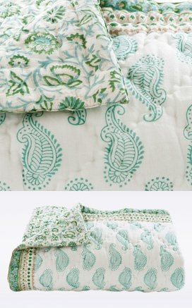Goa, India's smallest state, is known for it's beautiful beaches. This turquoise and green blanket is lined and has different patterns on both sides with diamond hand-quilting. 100% cotton voile. Made in India.