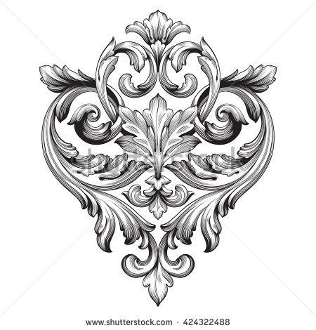 Vintage baroque ornament. Retro pattern antique style acanthus. Decorative design element filigree calligraphy vector.