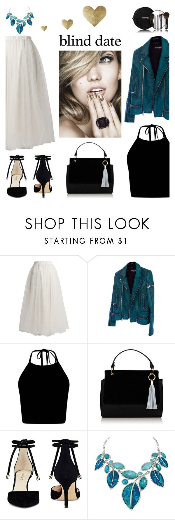 """""""Date Night"""" by lysianna ❤ liked on Polyvore featuring Rochas, Balmain, Nine West, Chanel and Oliver Gal Artist Co."""