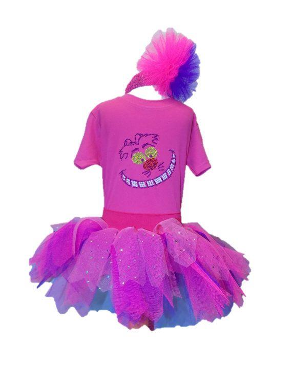 Cheshire Cat Fancy Dress Party Costume Tutu Set Baby Kids Toddler Bling Top Wonderland