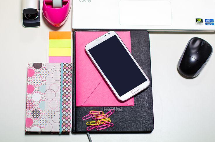ReOrganizacja - Planowanie biuro samsung note II notek koperta spinacze kalendarz agenda taśma klejąca zszywacz myszka   Blog Spod kocyka
