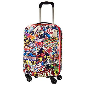 The Marvel heroes are on board with you thanks to this hand luggage size 4 wheel suitcase, good for Air France or British Airways cabin luggage dimensions. With a bunch of great features like fixed combination lock for extra security, smooth rolling wheels and comfortable handle, this Marvel suitcase will make you feel like a superhero.  Brand: American Tourister  Size approx. 35 x 55 x 25 cm