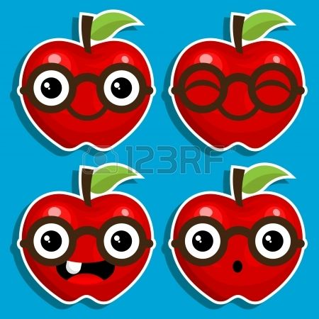 Vector cartoon characters of red apples with eyeglasses