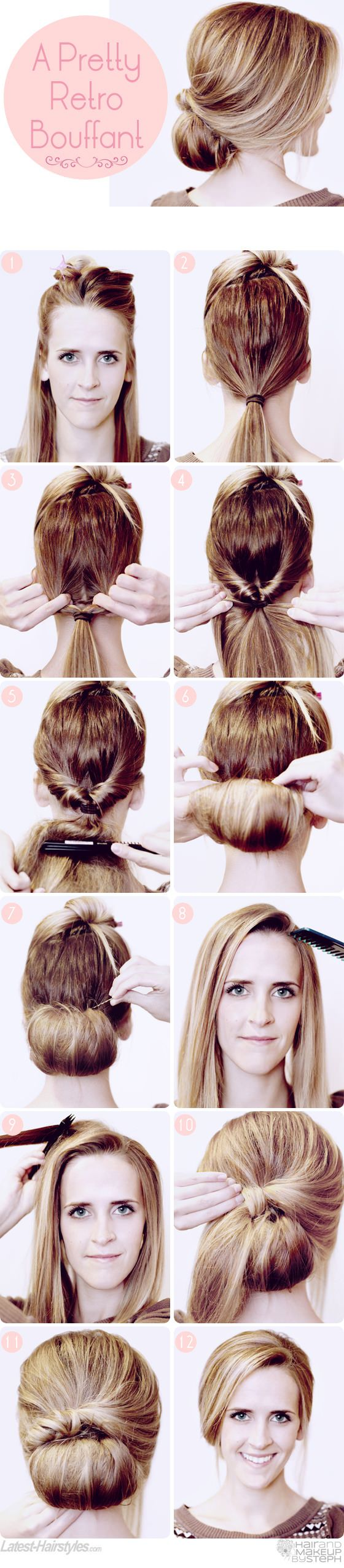 The Best Bouffant Ever: Retro Style! Fab styling by @Stephanie Brinkerhoff :) Get the full tutorial here...    http://www.latest-hairstyles.com/tutorials/retro-bouffant.html