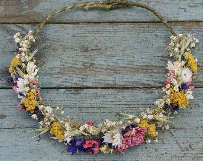 Summer Haze Dried Flower Hair Crown – #Crown #Dried #Flower #haarband #Hair #Haz…