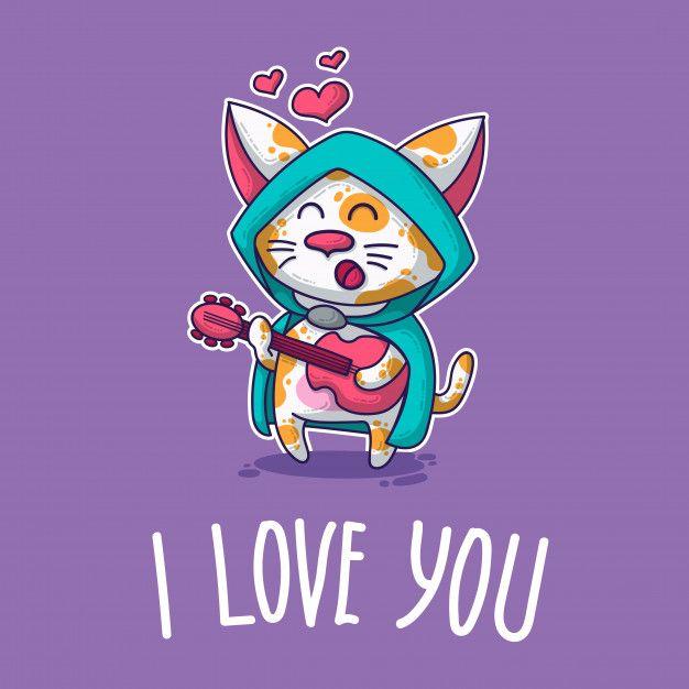 Vector Postal Sobre Gato Enamorado Gatitos Enamorados Enamorada