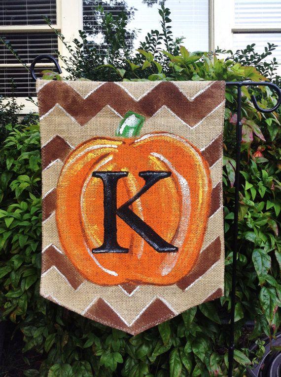 Burlap Garden Flag Brown Chevron Background with Monogram Pumpkin on Etsy, $20.00