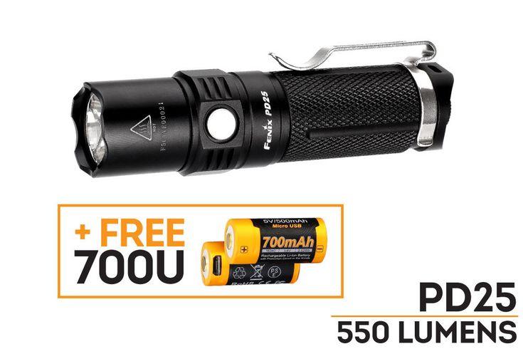 Fenix PD25 LED Flashlight + 1 ARB-L16-700U 16340 Battery! - Fenix-Store