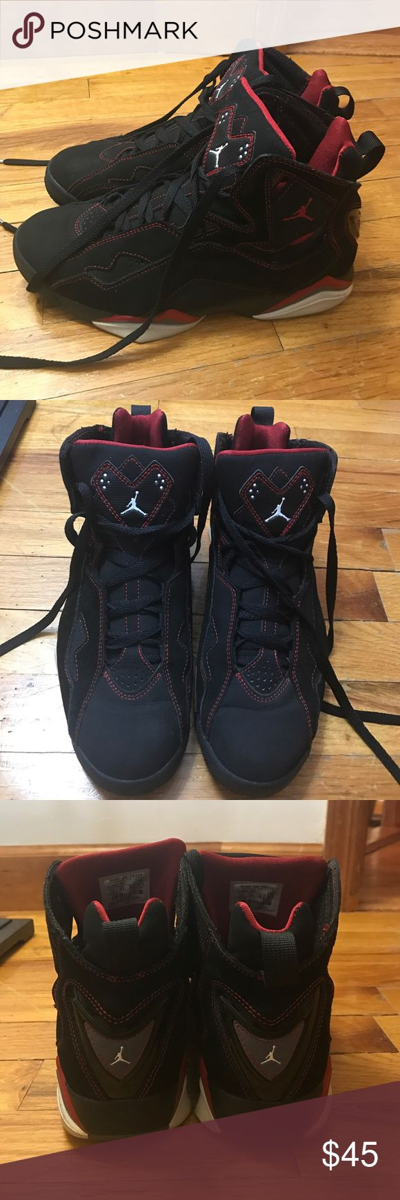 Black and Red Jordan True Flight Black and varsity red Jordan's true flight. I have worn these shoes so the bottoms aren't mint condition but they are still really good condition! Size is 7.5 MENS. **REPOSTING because I accidentally deleted the original post** Jordan Shoes Sneakers