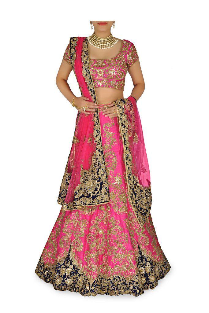 Rani Pink color Bridal lehenga choli