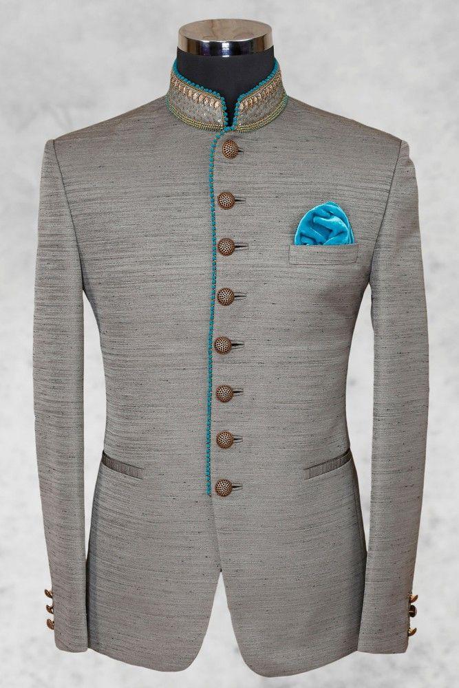 Grey admirable raw silk suit with bandhgala collar-ST491 - Jodhpuri Suits - Men's Suits - Men's Wear