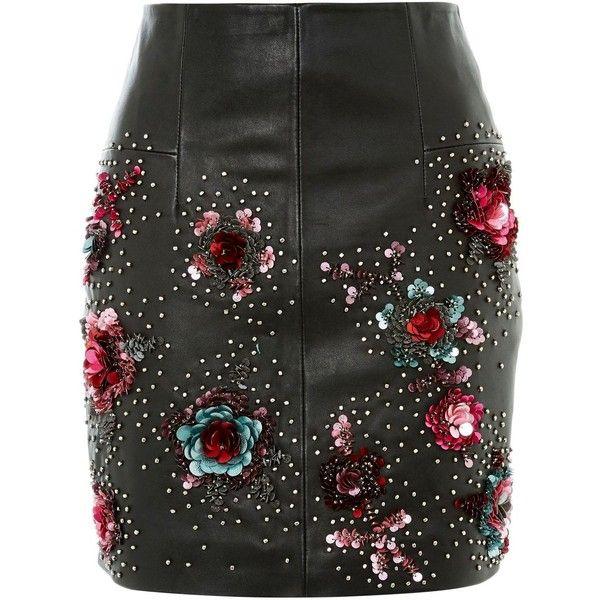 Topshop Stud Floral Leather Mini Skirt (5 810 UAH) ❤ liked on Polyvore featuring skirts, mini skirts, bottoms, topshop, black, floral printed skirt, leather miniskirt, studded leather skirt and short leather skirt