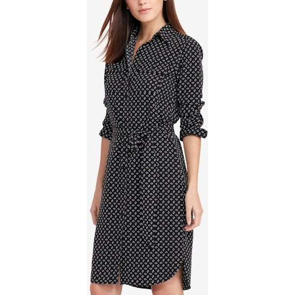 Lauren Ralph Lauren Petite Printed Crepe Shirtdress ($155) ❤ liked on Polyvore featuring dresses, black, mixed print dress, petite shirt dress, button up shirt dress, long button down shirt dress and button up dress