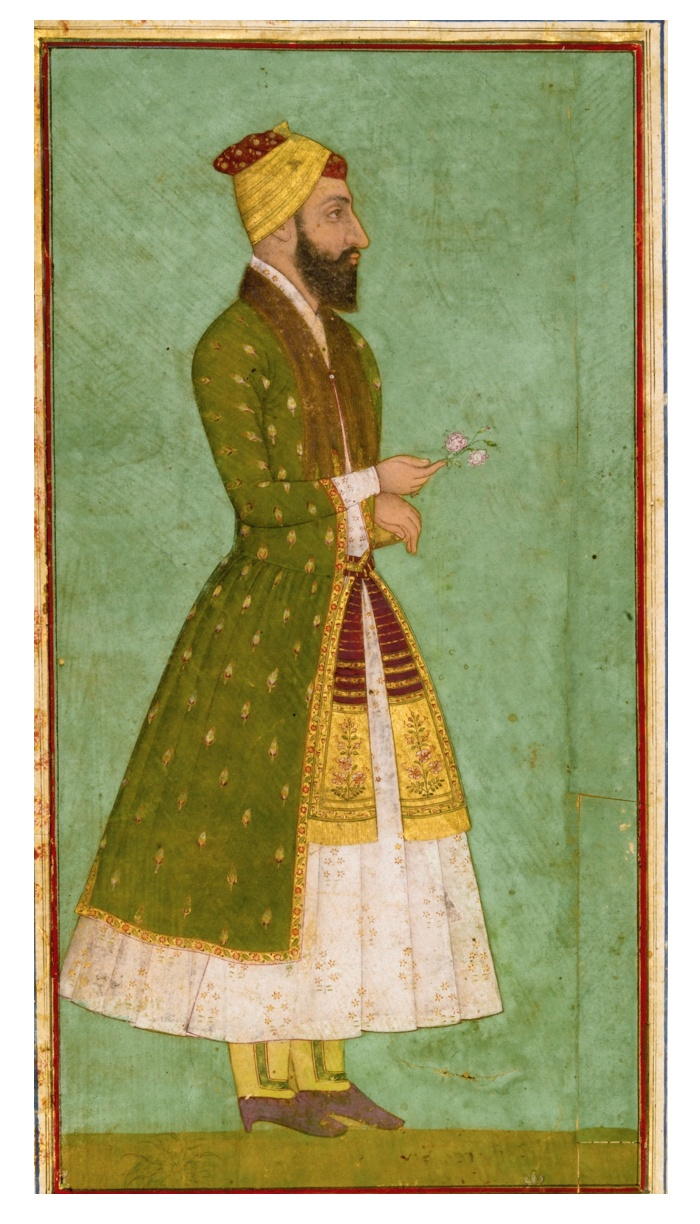 A PORTRAIT OF A NOBLEMAN, INDIA, MUGHAL, CIRCA 1670.  Gouache heightened with gold on paper, depicting a bearded figure in green and white robes with a floral patka, holding a flower in his right hand, red and gold turban, laid down on an album page with leafy floral borders with applied floral cartouches in different colours, the reverse with a text block with 14 lines of elegant nasta'liq script in black ink, with a heading panel left blank but with floral decoration