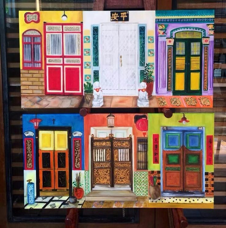 2 paintings of Peranakan doors. By Glacy Soh.