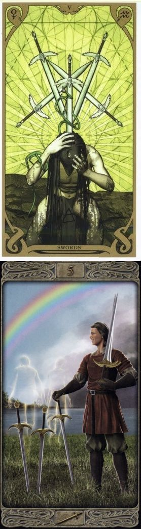 Five of Swords: stepping on toes and ready for a conflict to end (reverse). Night Sun Tarot deck and Ghost Tarot deck: daily tarot online, daily tarot reading and 6 card tarot reading. New witches and ritual symbols. #paganism #ritual #tarotapp #ilovemywitchyways #oldways