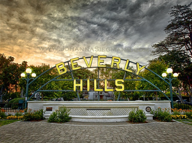 The famous Beverly Hills sign in Beverly Gardens Park.