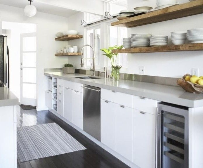 1000 images about kitchen open shelving ideas on for Galley kitchen without upper cabinets
