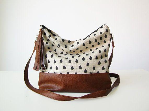 Sac Boho de gouttes de pluie, sac à bandoulière, en toile et simili cuir, ample Messanger bag, sac à bandoulière, pompons, bourse d'embrayage