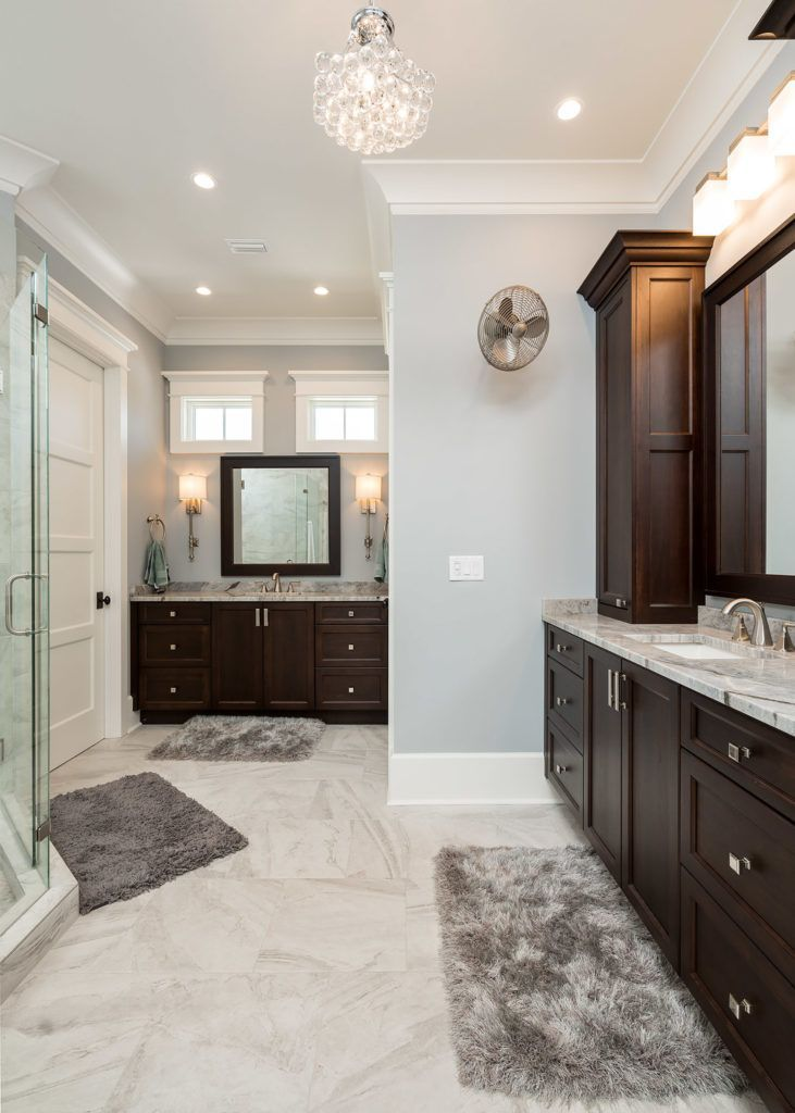 Eastburnwoodworks Double Vanity For The Master Bathroom With Dark Stained Wood Brown