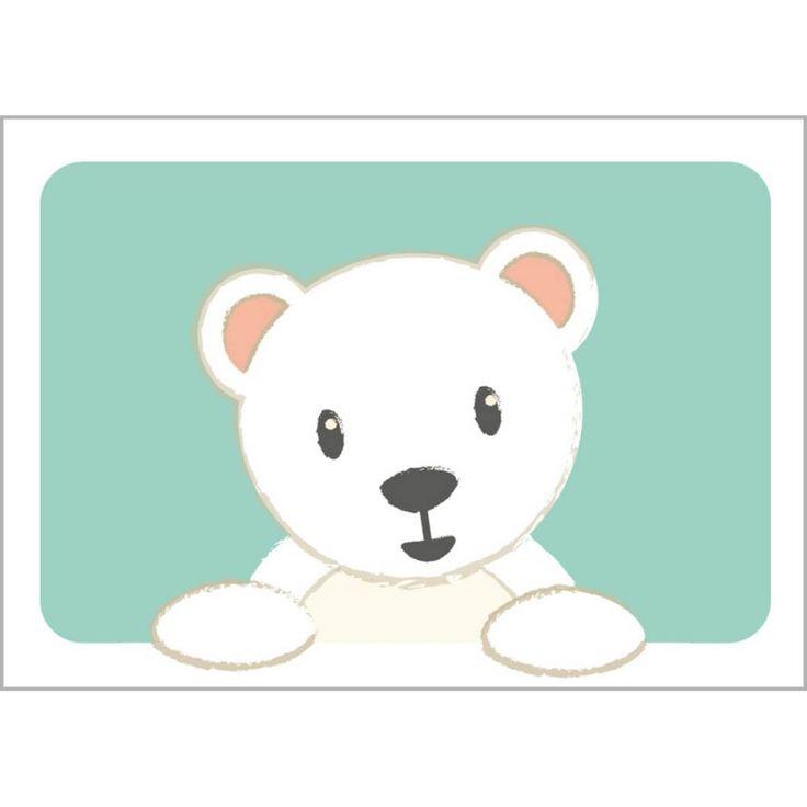 Ansichtkaart IJsbeer A6 Fris en vrolijk een kinderkamer op met dit kaartje aan de muur. Of verras iemand met een leuke boodschap per post! Deze afbeelding is ook verkrijgbaar als poster. Ontwerp Studio Circus.