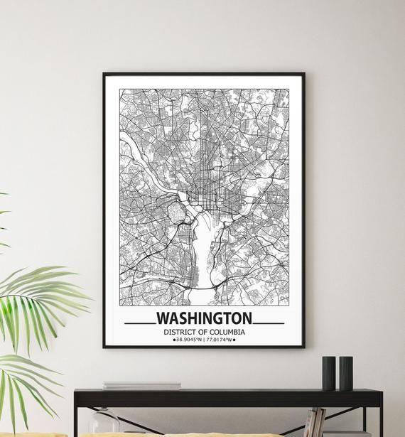 Washington Map Print Washington Wall Art Prints Travel Maps Etsy Map Wall Art Wall Art Prints Poster Wall Art