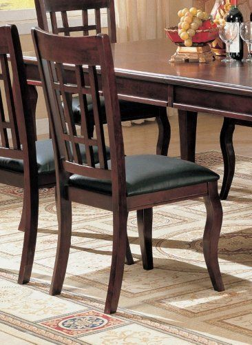 Set Of 2 Elegant Cherry Finish Dining Chairs With Black Leather Like Vinyl By Coaster Home