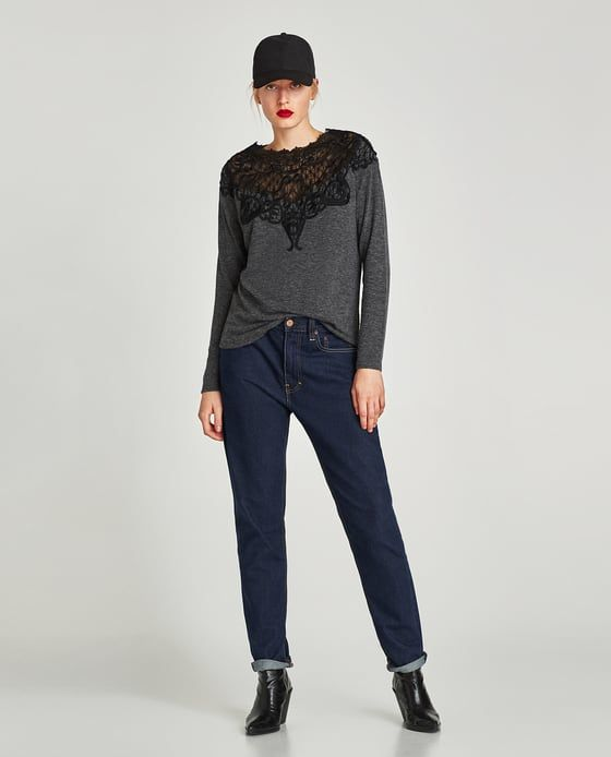 Image 1 of CONTRASTING LACE SWEATER from Zara
