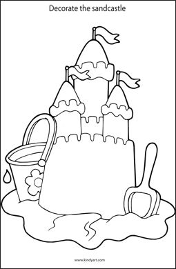 Decorate the sandcastle colouring page