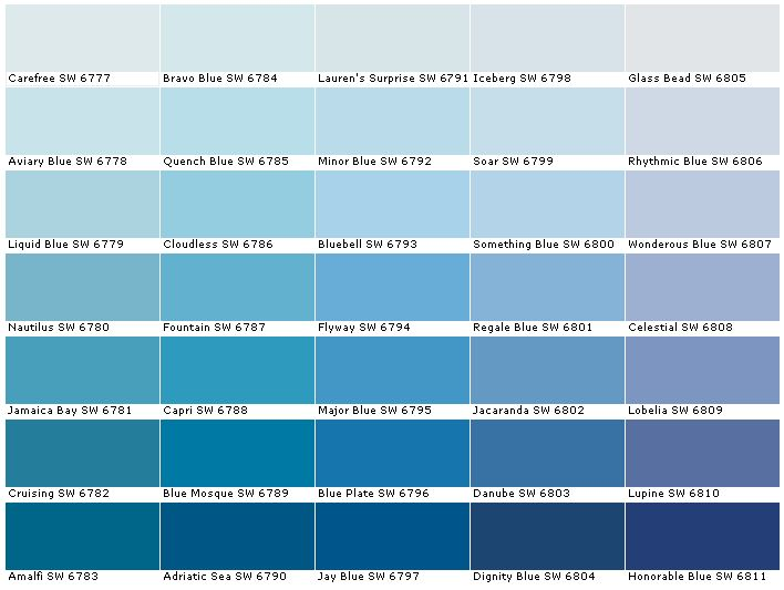 Sherwin Williams SW6777Carefree  SW6778Aviary Blue  SW6779Liquid Blue  SW6780Nautilus  SW6781Jamaica Bay  SW6782Cruising  SW6783Amalfi  SW6784Bravo Blue  SW6785Quench Blue  SW6786Cloudless  SW6787Fountain  SW6788Capri  SW6789Blue Mosque  SW6790Adriatic Sea  SW6791Lauren's Surprise  SW6792Minor Blue  SW6793Bluebell  SW6794Flyway