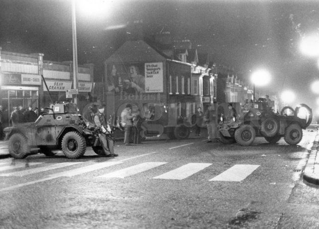 Riots : Belfast. January 1971. Army armoured cars form a road block on the Crumlin Road, at Ardoyne, Belfast. (18/01/1971) Belfast Telegraph Photosales