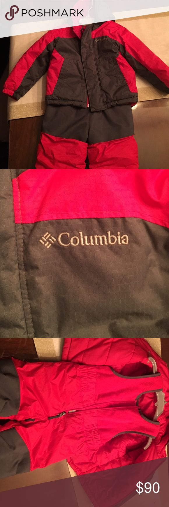 Reversible Red Columbia snow suit Used once just like new. Reversible Colombia snow suit insulated with fleece and DRI TECH technology. Keeps baby nice and warm. Down feather reversible sides. Velcro body snow suit with padded gray knees so wet snow can't get in. Hooded with draws to keep face warm.OUTGROWN™ grow system that gives you up to 2T in length. Columbia Jackets & Coats Puffers