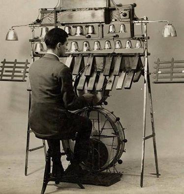 Drums and bells set, found on great page www.facebook.com/onemanbandclub #onemanband #rareandstrangeinstruments #music #instruments