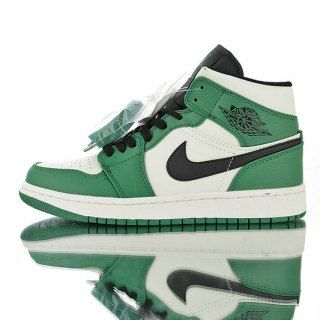 11b373a3ef9 Mens Womens Winter Basketball Shoes Air Jordan 1 mid AJ1 White-green toe  celtic Black