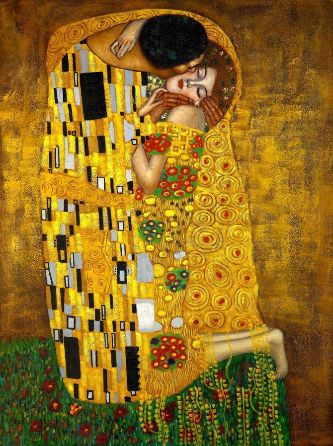 1-Imagen elegida, Famoso cuadro de Gustav Klimt ''El beso'' Esta es la ilustración original que hemos elegido para el  proceso de nuestro ejercicio.