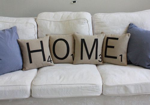 scrabble pillows... so awesome, next you need a scrabble board floor mat/rug :)