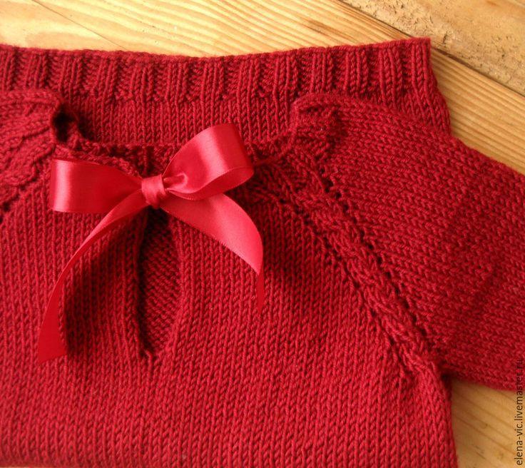 Купить Вязаное платье с лентами - бордовый, вязание для малышей, для новорожденного, для девочки, для девочек, платье