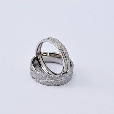 Fashion Vágó Vonal Titanium Steel Scrub pár gyűrű – USD $ 15.99