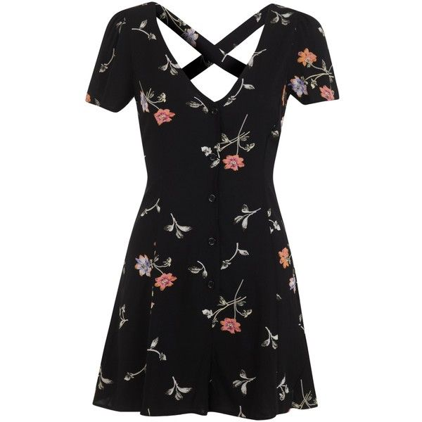 Miss Selfridge 90s Spring Playsuit, Multi ($30) ❤ liked on Polyvore featuring jumpsuits, rompers, dresses, playsuit, vestidos, miss selfridge, playsuit romper, short sleeve romper, floral rompers and flower print romper
