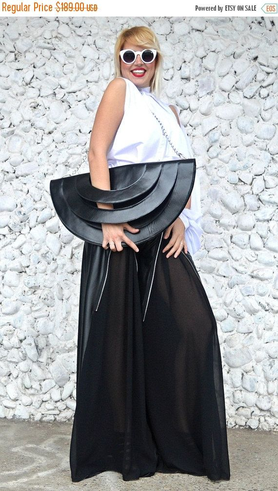 ON SALE 20% OFF Black Leather Bag / Extravagant Leather Bag / Genuine Leather Bag / Extravagant Black Tote Tlb07 / Urban Muse