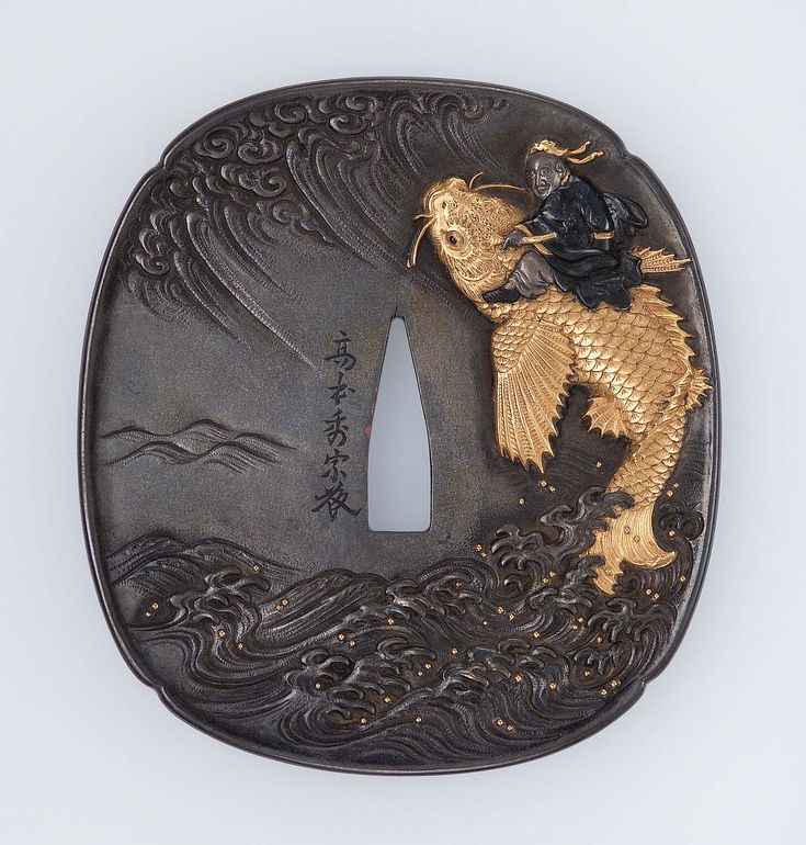 Tsuba with design of Kinko riding on a carp. Edo period–Meiji era mid to late 19th century - Takamoto Hidemune (Japanese, 1819–1887), Tanaka School