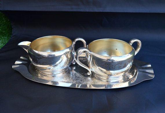 Vintage Silver Plated Creamer Sugar Bowl And Tray by FarahsAttic, $12.00