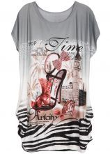 Grey Batwing Short Sleeve High-heeled Shoes Print T-Shirt US$20.49