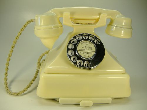 Call Me on this Vintage Telephone Creme