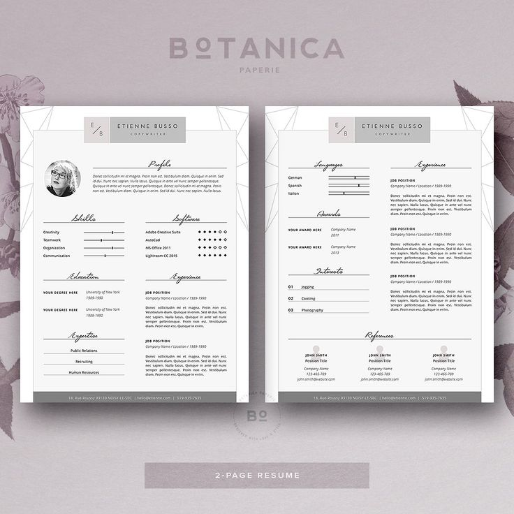 stylish resume template 4 ms word by botanica paperie on